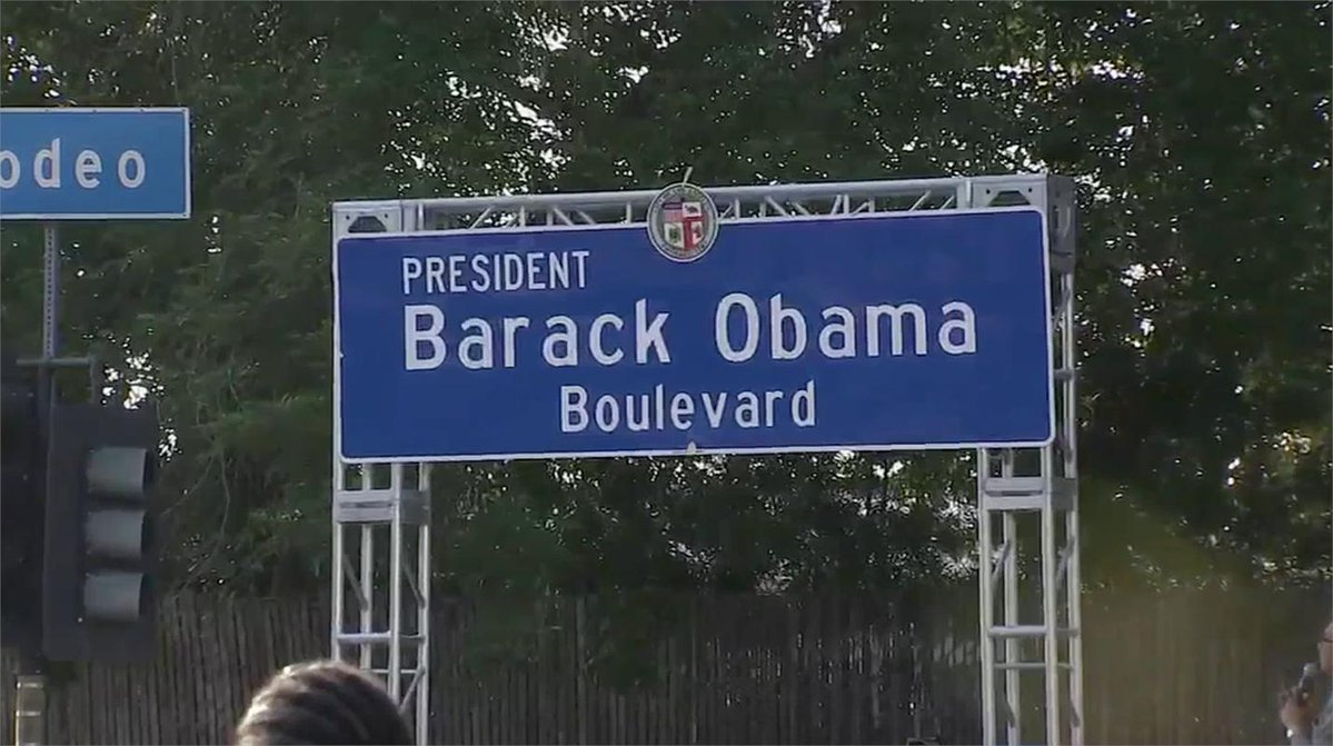 A stretch of road in Los Angeles has been renamed in honor of former Pres. Barack Obama.