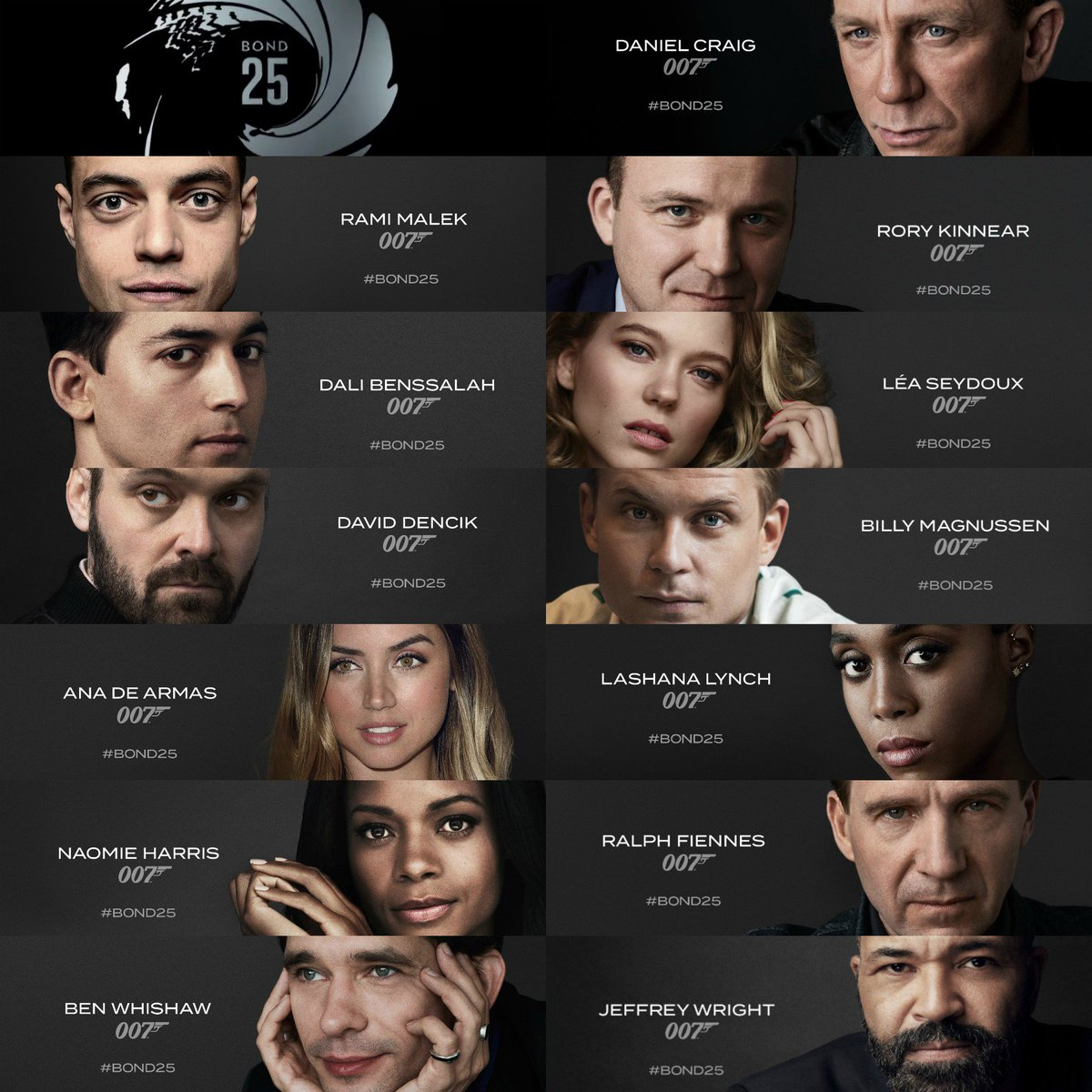 RT @RottenTomatoes: Daniel Craig, Rami Malek, and the rest of the cast of the upcoming James Bond movie #Bond25 https://t.co/OLFiG8iHH5