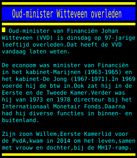 test Twitter Media - Oud-minister Witteveen overleden https://t.co/qKJ0DSJYgz