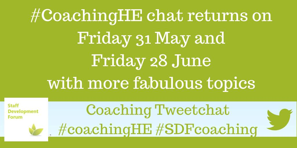 test Twitter Media - Announcement from #CoachingHEWe have two more chats scheduled on Friday 31 May and Friday 28 JunePencil us in and Join us next time.The more the merrier#SDFcoaching https://t.co/IxNLzTji25