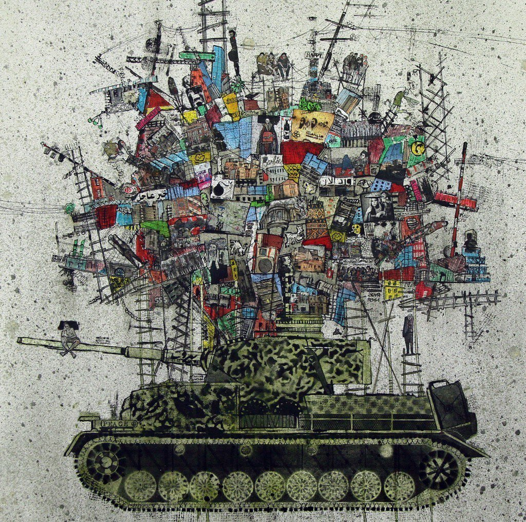 My city on a tank, 2015 by Lebanon born artist, Zena Assi who lives and works in Beirut #womensart https://t.co/5MSEWwsw6R
