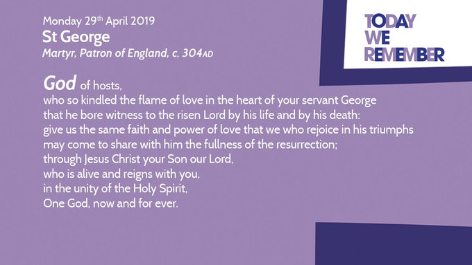 RT @churchofengland: Today we remember St George. Martyr and patron saint of England. https://t.co/r45zAGsKo3 https://t.co/R2bO6BTWMu