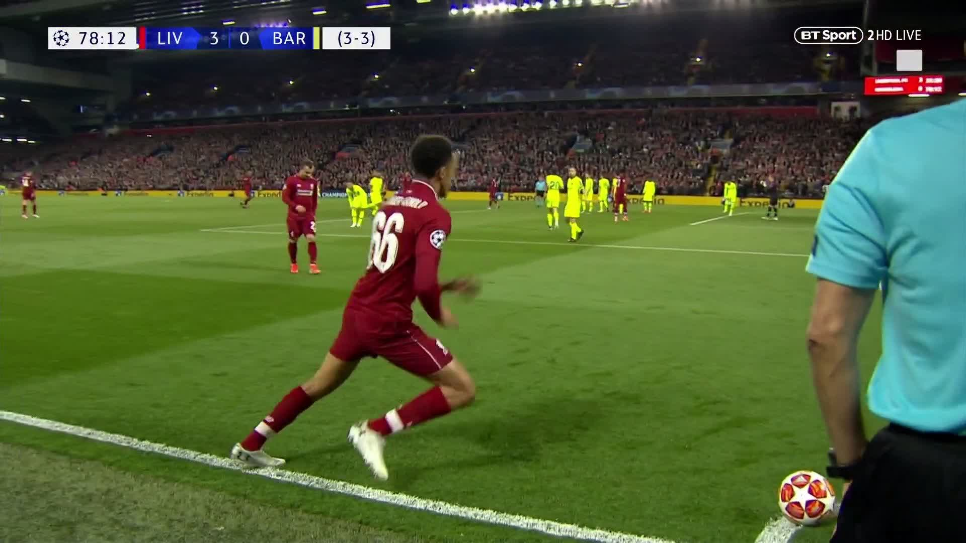 SIMPLY GENIUS 🤯  Trent Alexander-Arnold spots Barcelona napping and Divock Origi makes no mistake!!!  4-0 Liverpool 😱  Wow. https://t.co/K05v1jgazZ