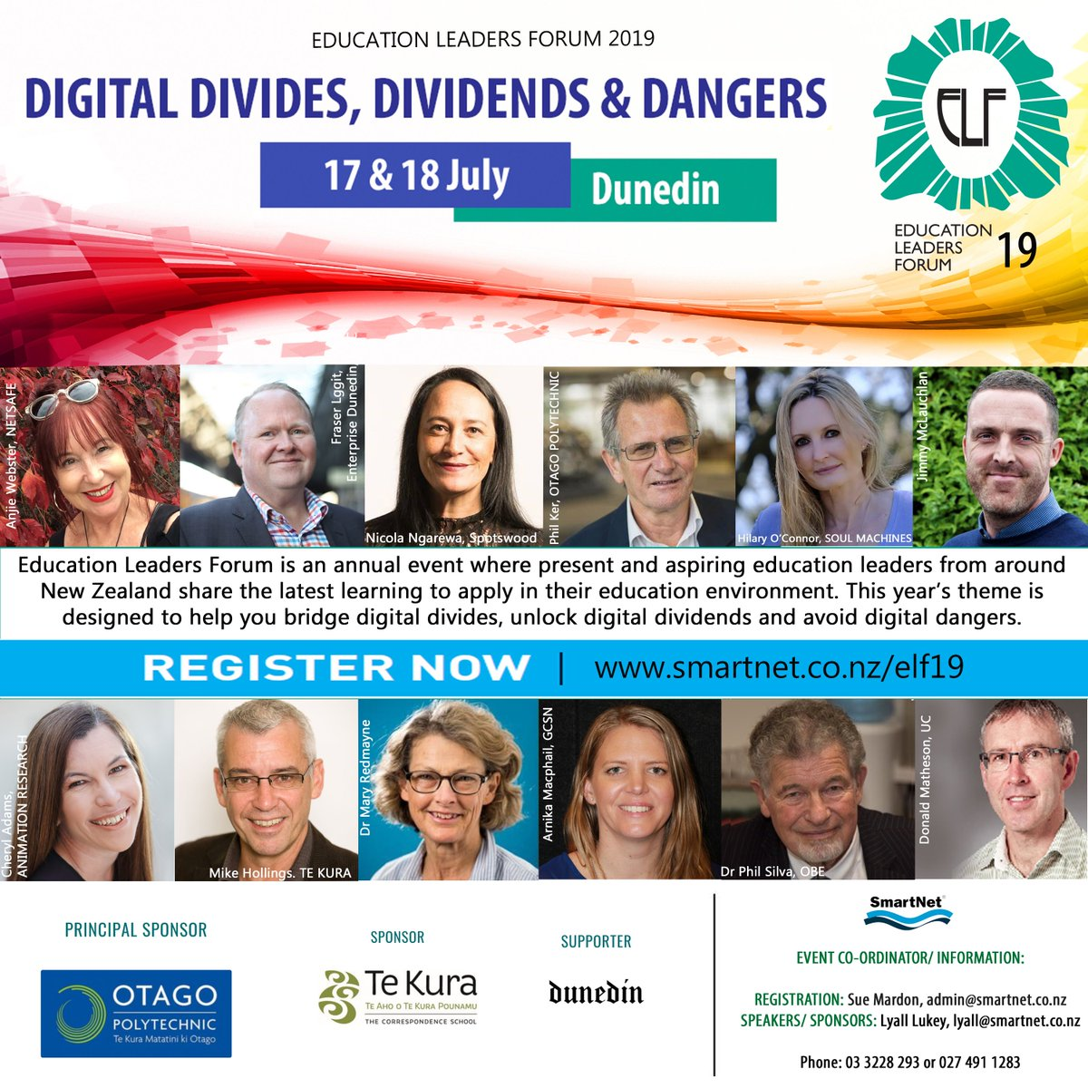 test Twitter Media - Registration for Education Leaders Forum 2019: Digital, Divides, Dividends & Dangers, 17 & 18 July, Dunedin is now open! https://t.co/KUVPZ0lSxY - very early bird rates available until 10 May 👍 https://t.co/0w6HGYFzWY