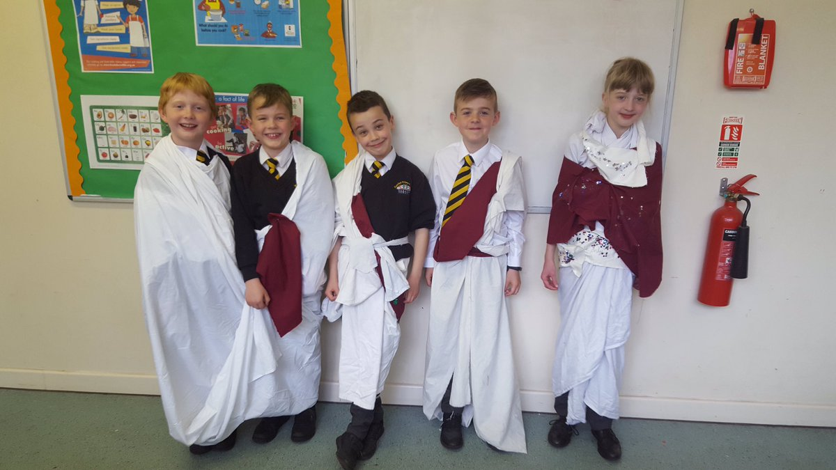 test Twitter Media - Our Year 4 'Horrible Histories' lunchtime club have been busy designing and making Roman Togas. Here they are being expertly modelled by a few willing members of the group! https://t.co/i9AVHcHKRA