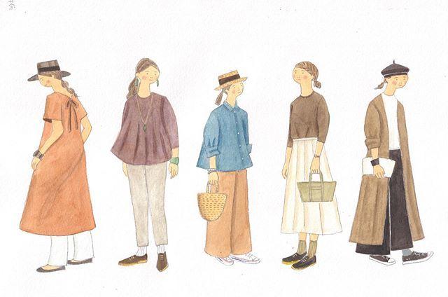 test ツイッターメディア - . #ブラウンコーデ ブラウンといっても、色味はさまざま。テラコッタ、バーガンディ、チョコレート、オーク。 . 似合うブラウン、好きなブラウンも色々です。 . #フェリシモ#ミニツク#堀川波コーデイラスト #fashionillustration #コーデイラスト#ファッションイラスト https://t.co/HSQJnhbjM4 https://t.co/Phzy123htb
