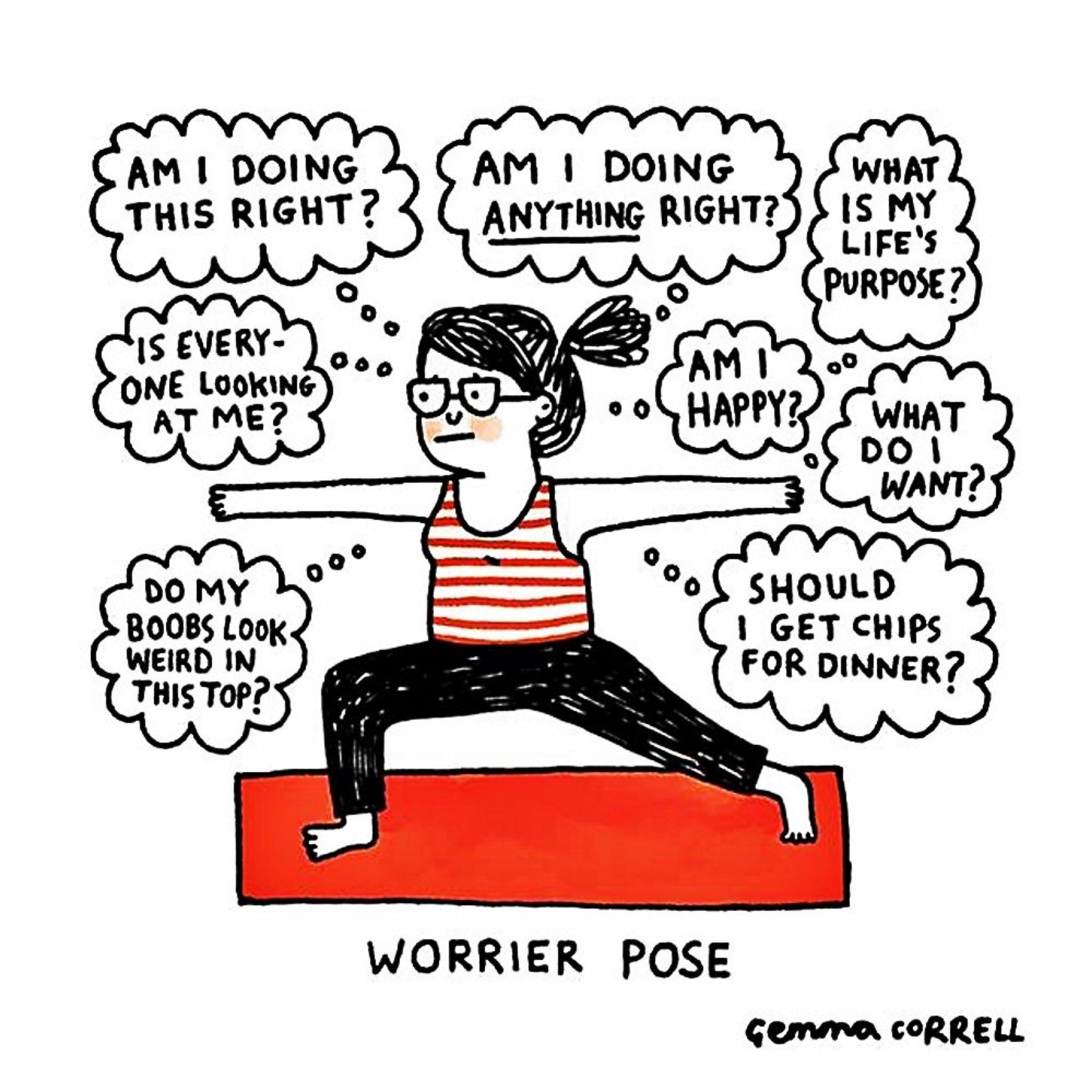 Worrier pose 75% of the time 😅  👩🏽🎨: @gemmacorrell https://t.co/7nxvNK6Zhn