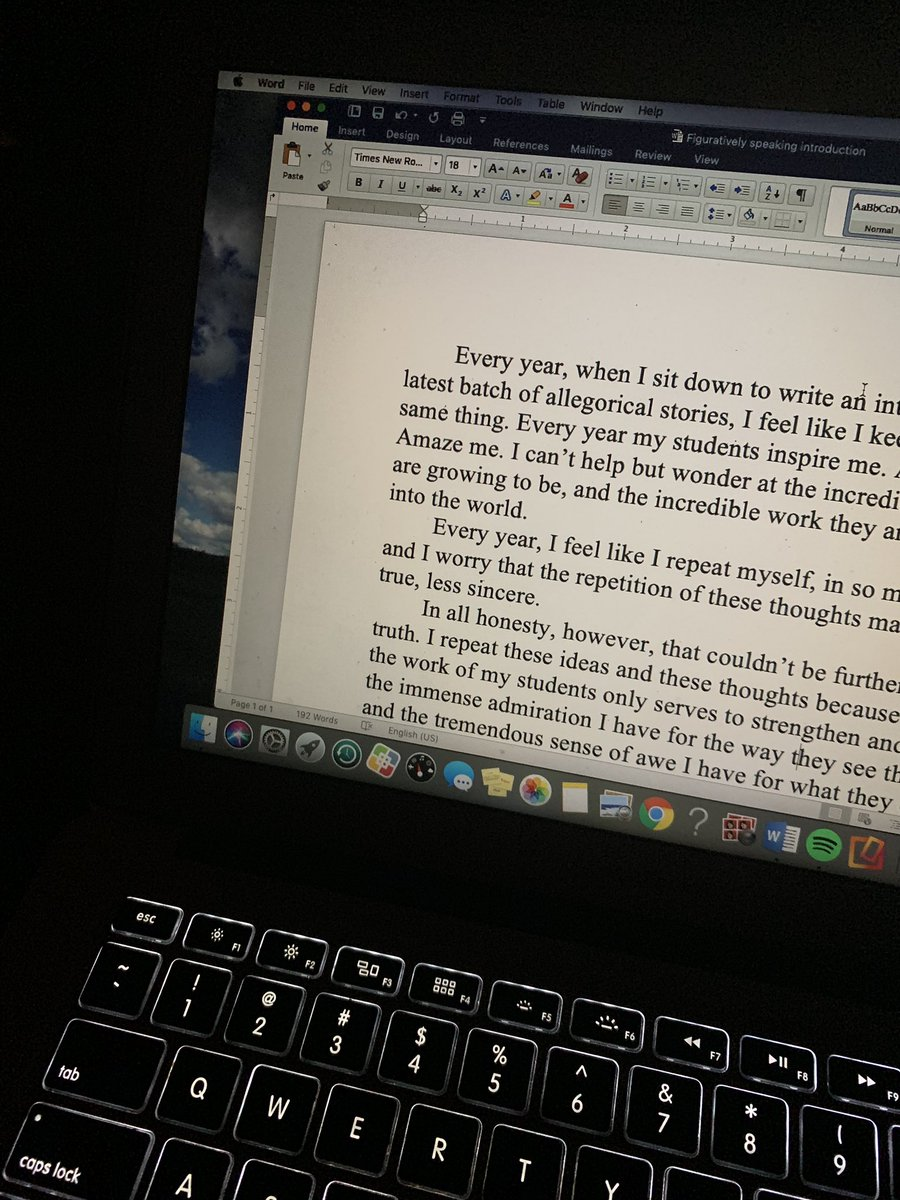 test Twitter Media - It's 4:30 am. I'm up for the night. And I think I have crafted the introduction to this year's volume of allegorical fiction from my fifth graders. It's always tough to write, but it was easier this time. Maybe I'm on to something. #NightOwl #EdChat #WhyITeach #D30Learns https://t.co/wUWqzpO2xe
