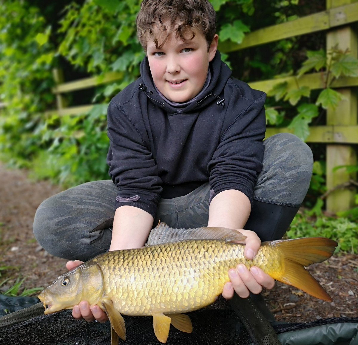 First time my lad tryed #zigs resulted in this 8lb er #carpfishing #fishing #carp #carpy #carpy #<b>