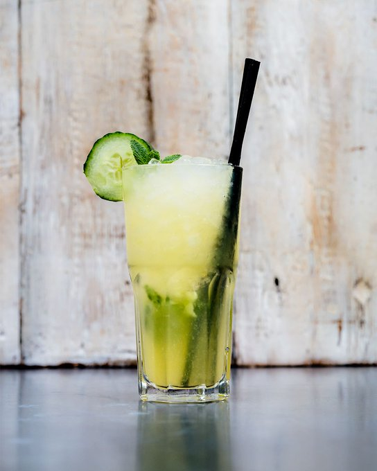 It's BACK. The Gin Garden made with elberberry, fitness juice and cucumber 🥒