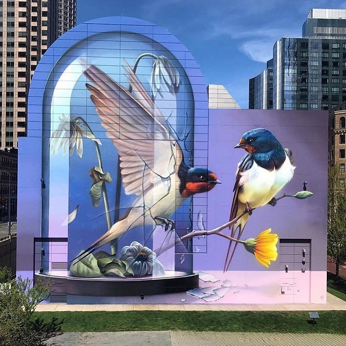 Be a rebel, be yourself!Take your dream and leave your mark!Goodmorning! Super A #Boston #StreetArt #Art #Birds #Graffiti #Goodmorning #Rebel #BeYourself #writerscommunit #LeaveYourMark #FollowYourHeart #UrbanArt #Colors #Mural #BeBrave #BreakTheWall #SprayArt #Dreamer #Free https://t.co/Aat51qFHLL