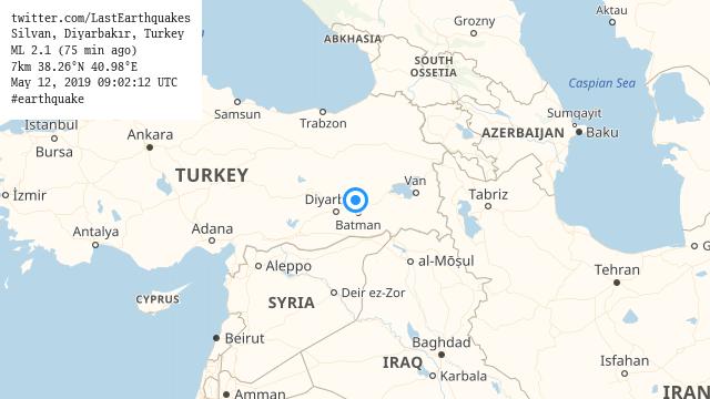 Silvan, Diyarbakır, Turkey ML 2.1 (75 min ago) 7km 38.26°N 40.98°E May 12, 2019 09:02:12 UTC #earthquake  | tweeted by @LastEarthquakes