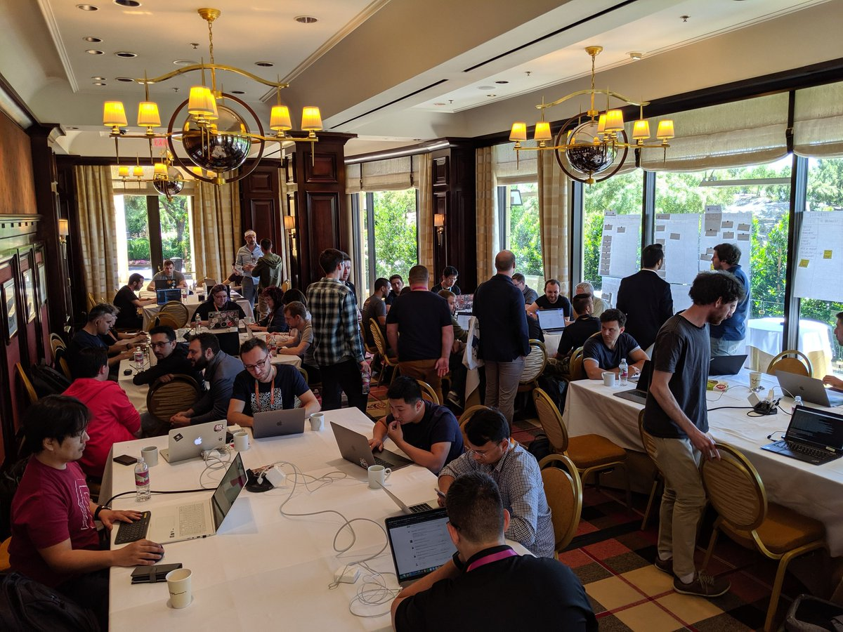 aligent: Plenty of concentration and conversation happening at day 2 of Imagine Contribution Days #MagentoImagine https://t.co/UNxzvLm8Uy