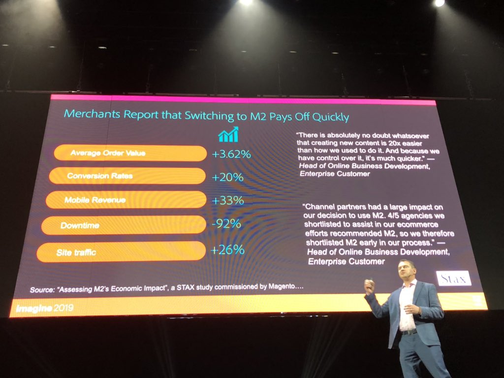 BeingtheShiva: If you're hesitant to migrate to magento2, here is a stats for you.n#partnersummit #MagentoImagine https://t.co/7dWxWcqkIB