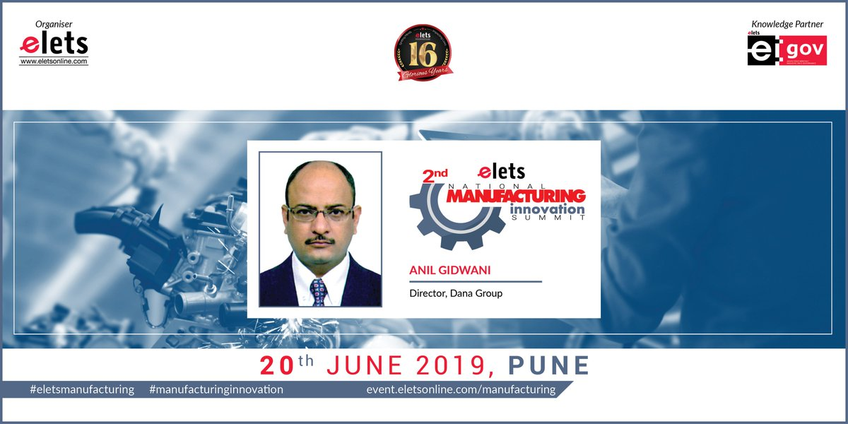 test Twitter Media - We are glad to welcome Anil Gidwani, Director, Dana, as our speaker at 2nd Elets National Manufacturing Innovation Summit in Pune on 20 June, 2019   For more info log on to: https://t.co/1a5zhHbD6j   #Artificialintelligence #robotics #CyberSecurity   @SAVDAGREAT @ravigupta1000 https://t.co/gZKHh7cwnw