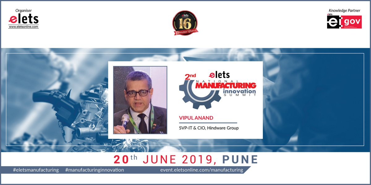 test Twitter Media - We are glad to welcome Vipul Anand, SVP-IT and CIO, Hindware Group, as our speaker at 2nd Elets National Manufacturing Innovation Summit in Pune on 20 June, 2019   For more info log on to: https://t.co/1a5zhHbD6j   #Artificialintelligence #robotics   @SAVDAGREAT @ravigupta1000 https://t.co/10HRCs3WHo