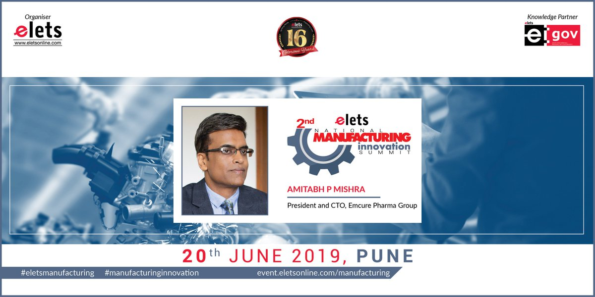 test Twitter Media - We are glad to welcome Amitabh P Mishra, President and CTO, Emcure Pharma Group, as our speaker at 2nd Elets National Manufacturing Innovation Summit in Pune on 20 June, 2019   For more info log on to https://t.co/1a5zhHbD6j   #Artificialintelligence   @SAVDAGREAT @ravigupta1000 https://t.co/tcSmBBlh1U
