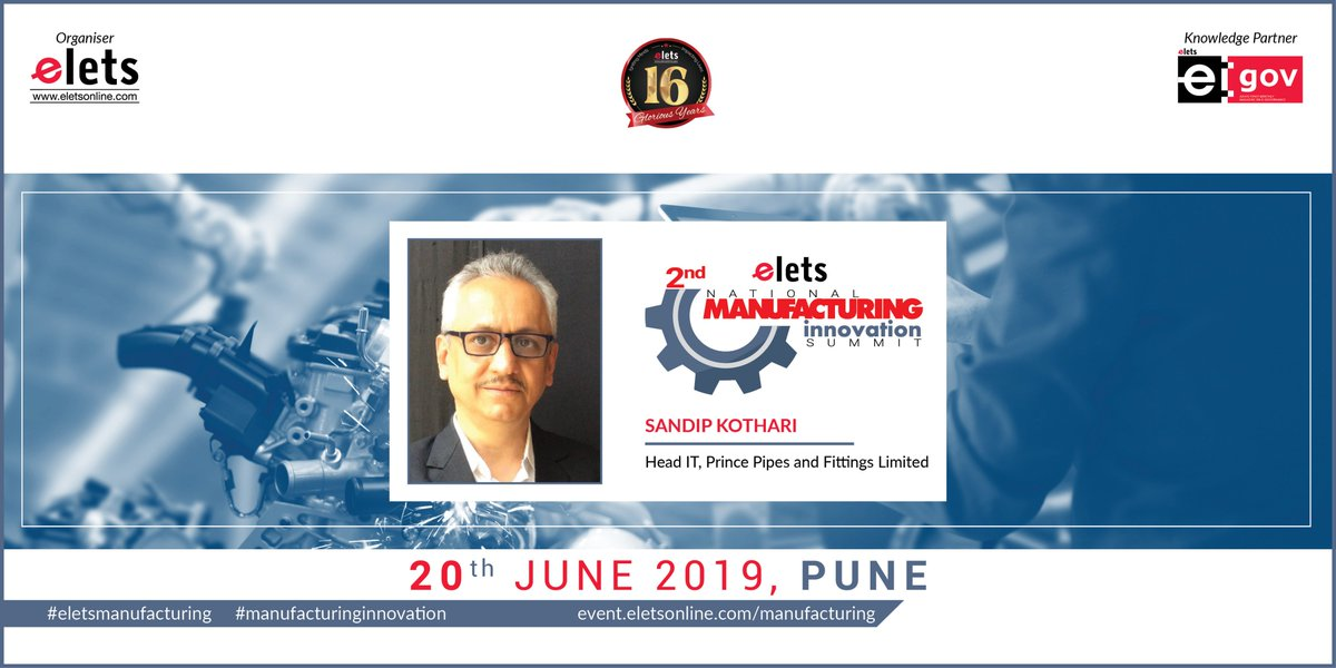 test Twitter Media - We are glad to welcome Sandip Kothari, Head IT, Prince Pipes & Fittings Ltd, as our speaker at 2nd Elets National Manufacturing Innovation Summit in Pune on 20 June, 2019   For more info log on to: https://t.co/1a5zhHbD6j   #Artificialintelligence   @SAVDAGREAT @ravigupta1000 https://t.co/kPC723AaCv
