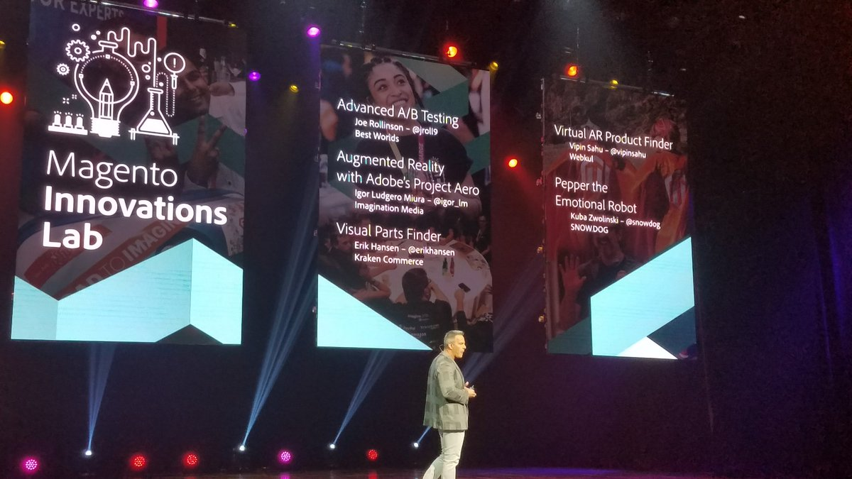 MissDestructo: Magento Innovation Lab is fostering #AR projects. (Also, I see @snowdog up there!) #MagentoImagine https://t.co/YRwLq9PAYj