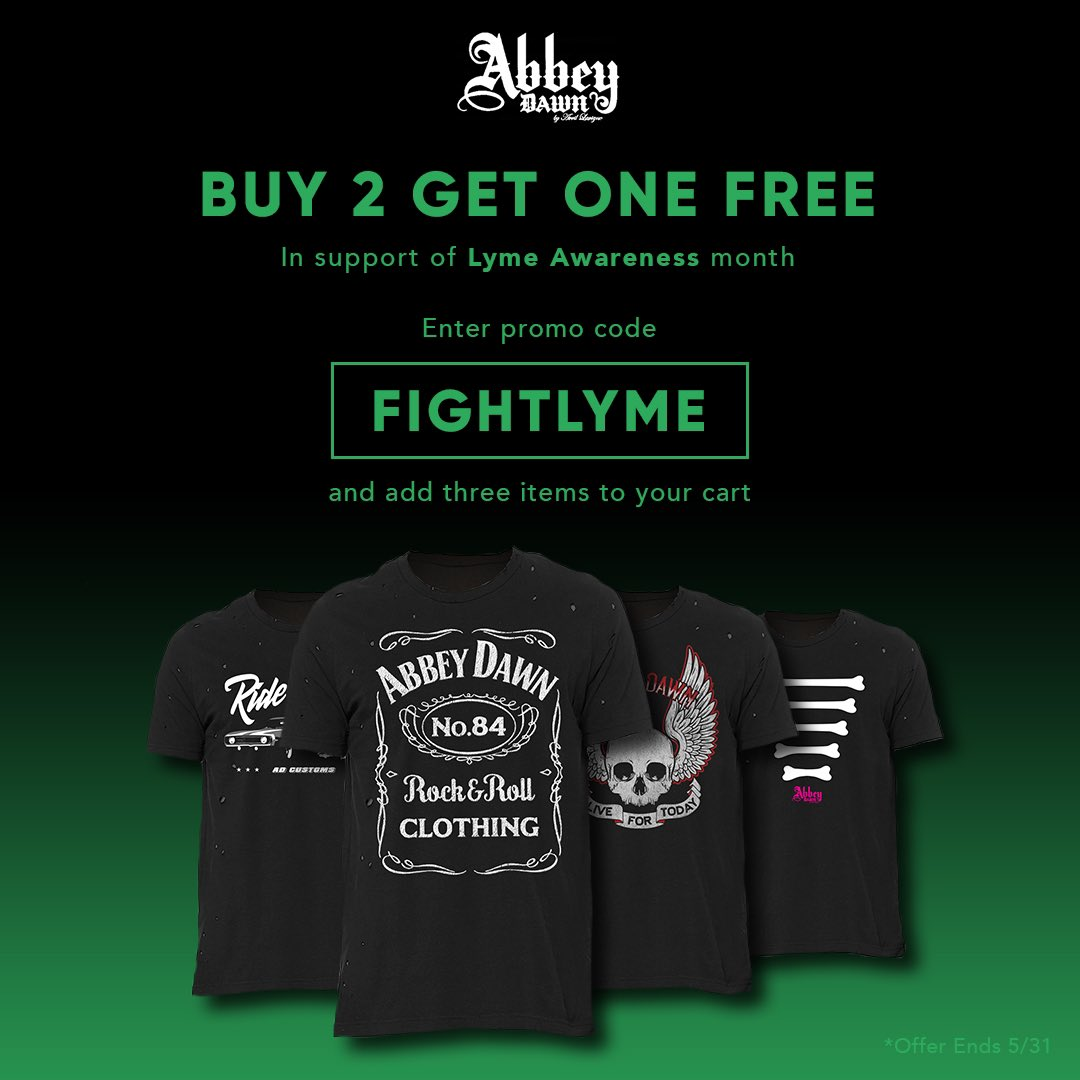 In support of Lyme Disease Awareness Month, purchase any two items from the @AbbeyDawn shop, get one free! https://t.co/Y4rTM32wY2