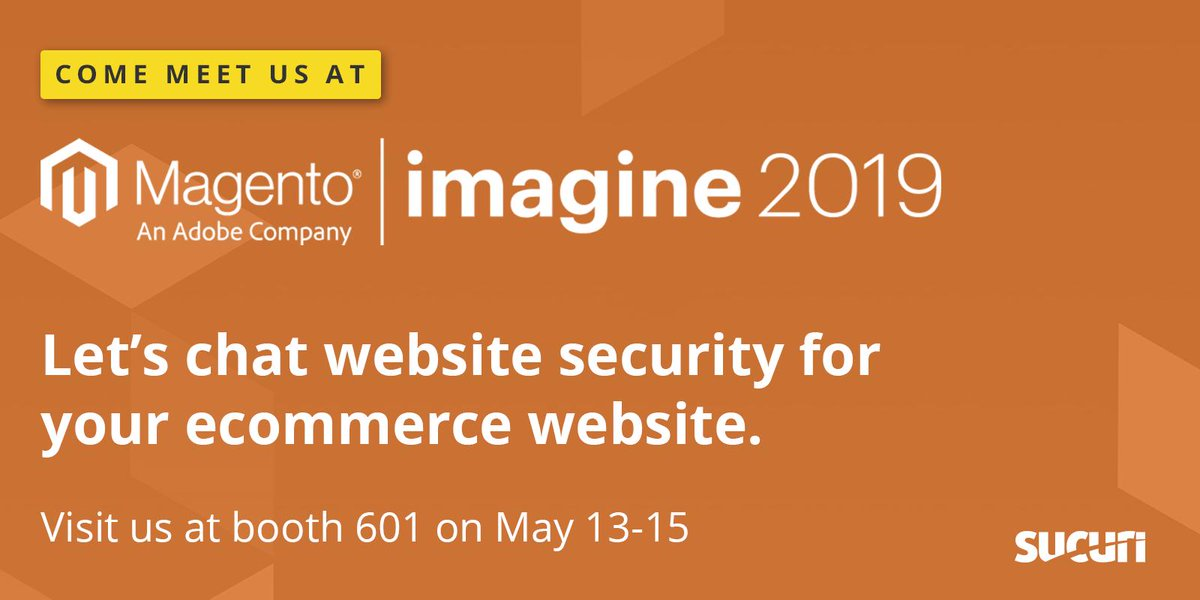 sucurisecurity: Are you at #MagentoImagine?nWe'd love to meet you. Come meet our team in the sponsors area at booth 601. https://t.co/3G2pTcwk9M