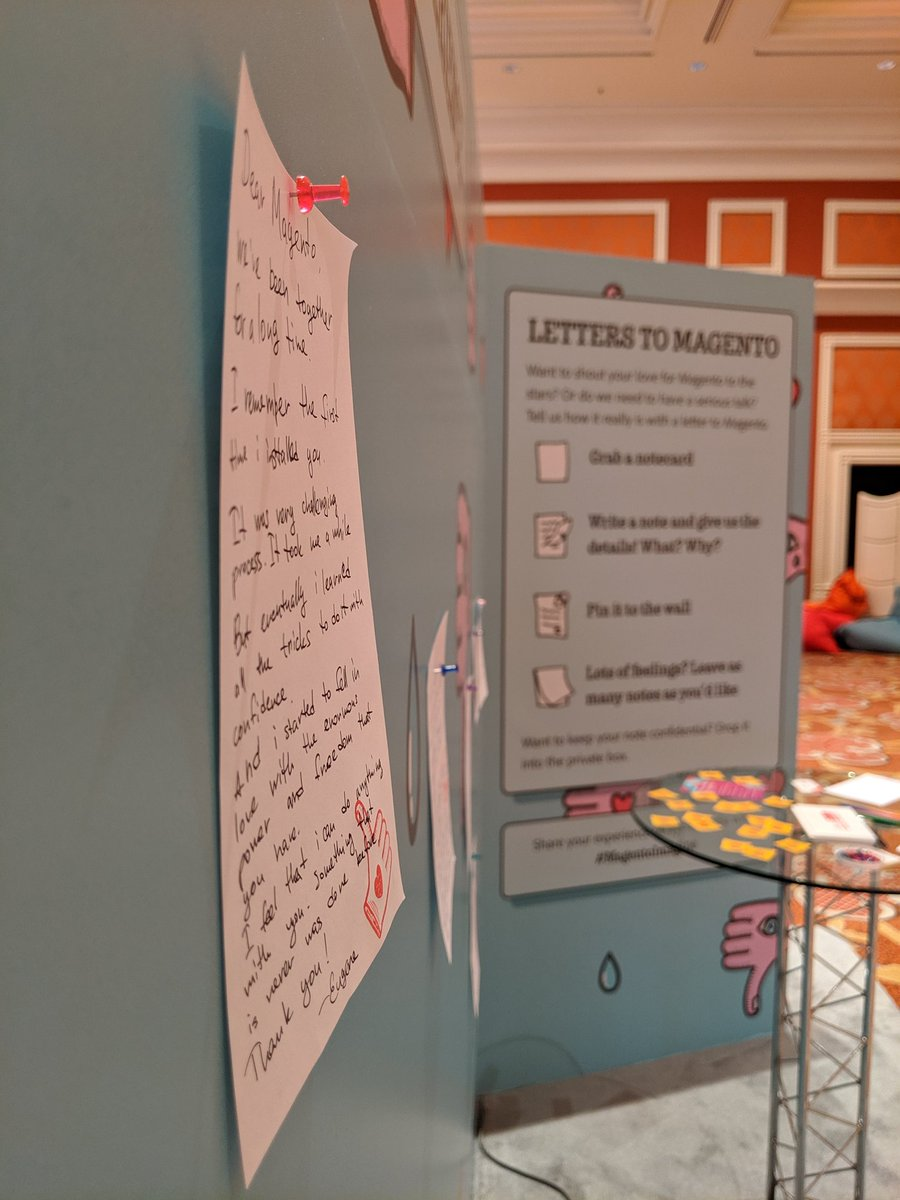 belbiy: This is my letter to Magento I left at UX booth. Stop by us and leave yours. #MagentoImagine #imagine2019 https://t.co/2pqrJuNm1p