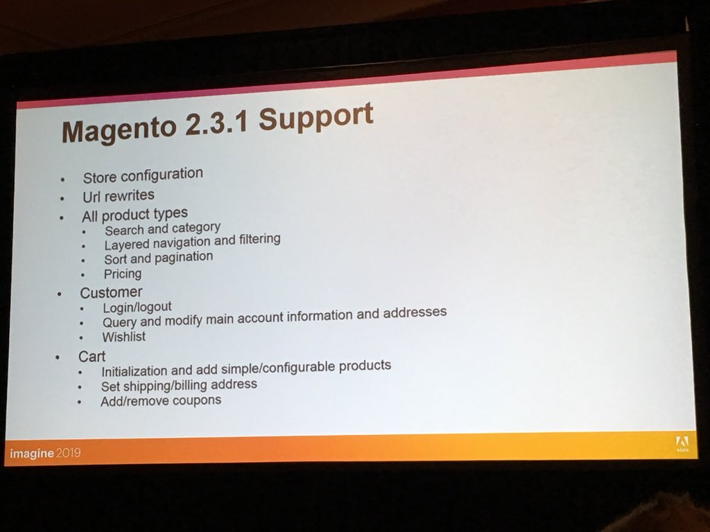 SergiiShymko: Current state of GraphQL support in #magento2 2.3.1 and next release 2.3.2. #MagentoImagine https://t.co/fJanpwf2f6
