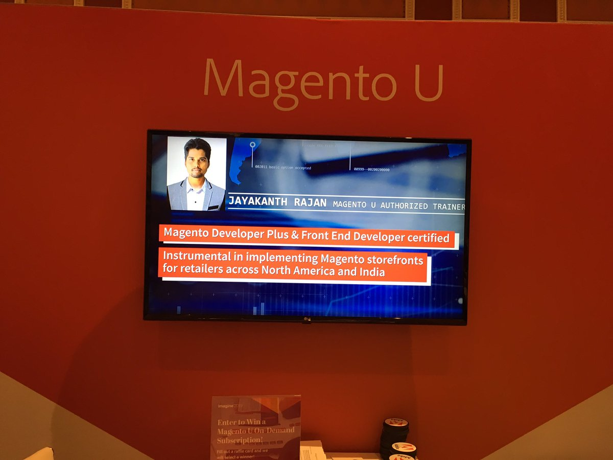 DCKAP: Glad to see @IAmJayakanth on the screen at the @MagentoU Booth at the sponsors marketplace #MagentoImagine https://t.co/Pfr92evMZ6