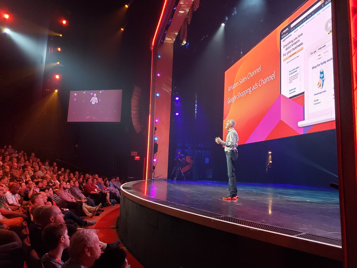 magento: .@jasonwoosley_mg announces the availability of Amazon and Google sales channels.n#MagentoImagine https://t.co/amKpJNlHNX