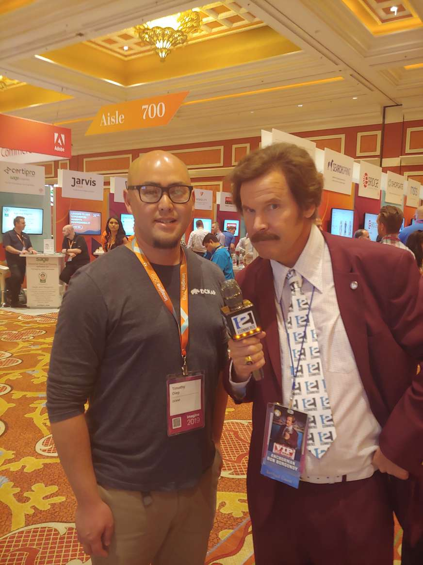 productimize: Look who we met at @121ecommerceLLC Booth. It's the man, Ron Burgundy himself. #MagentoImagine https://t.co/hUZhkweADb