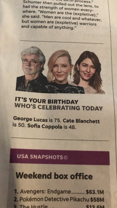Happy birthday to George Lucas (75) Cate Blanchett (50) and Sofia Coppola (48)