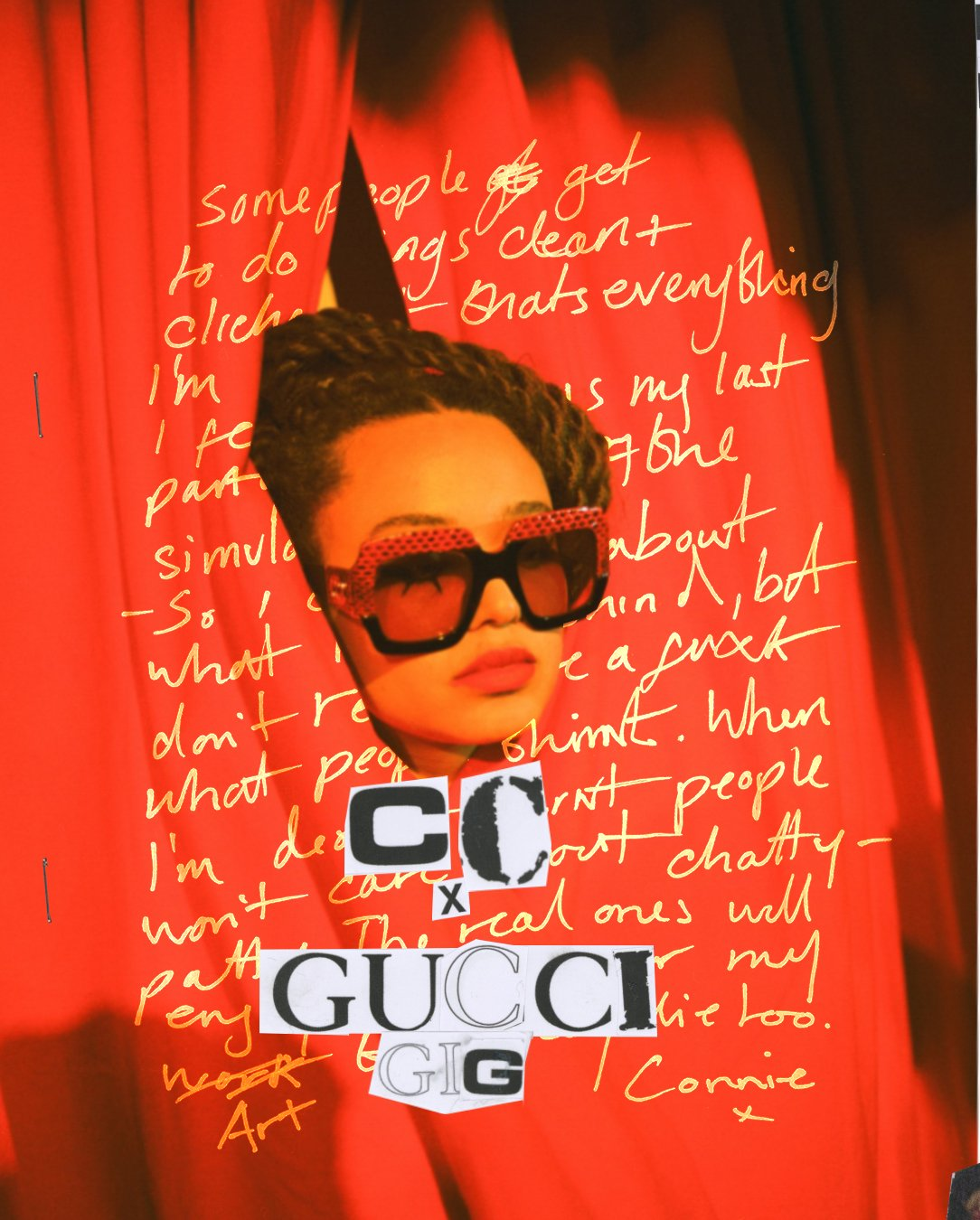 Inside a zine for #GucciGig @ConnieW4tford directed and produced with graphic designer Morgan Benjamin and photographer Sophie Jones, the British singer-songwriter is seen on and off-stage, wearing #GucciEyewear oversized glasses in Havana acetate and grey leather. https://t.co/oWeOJ5ZrZP