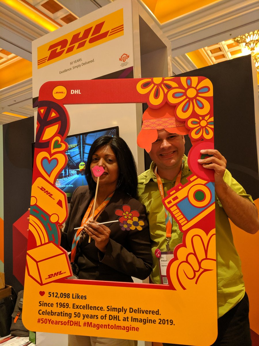 adwatson: Peace and love at the DHL booth!!n#50yearsofDHL #MagentoImagine https://t.co/82Ozy2989w