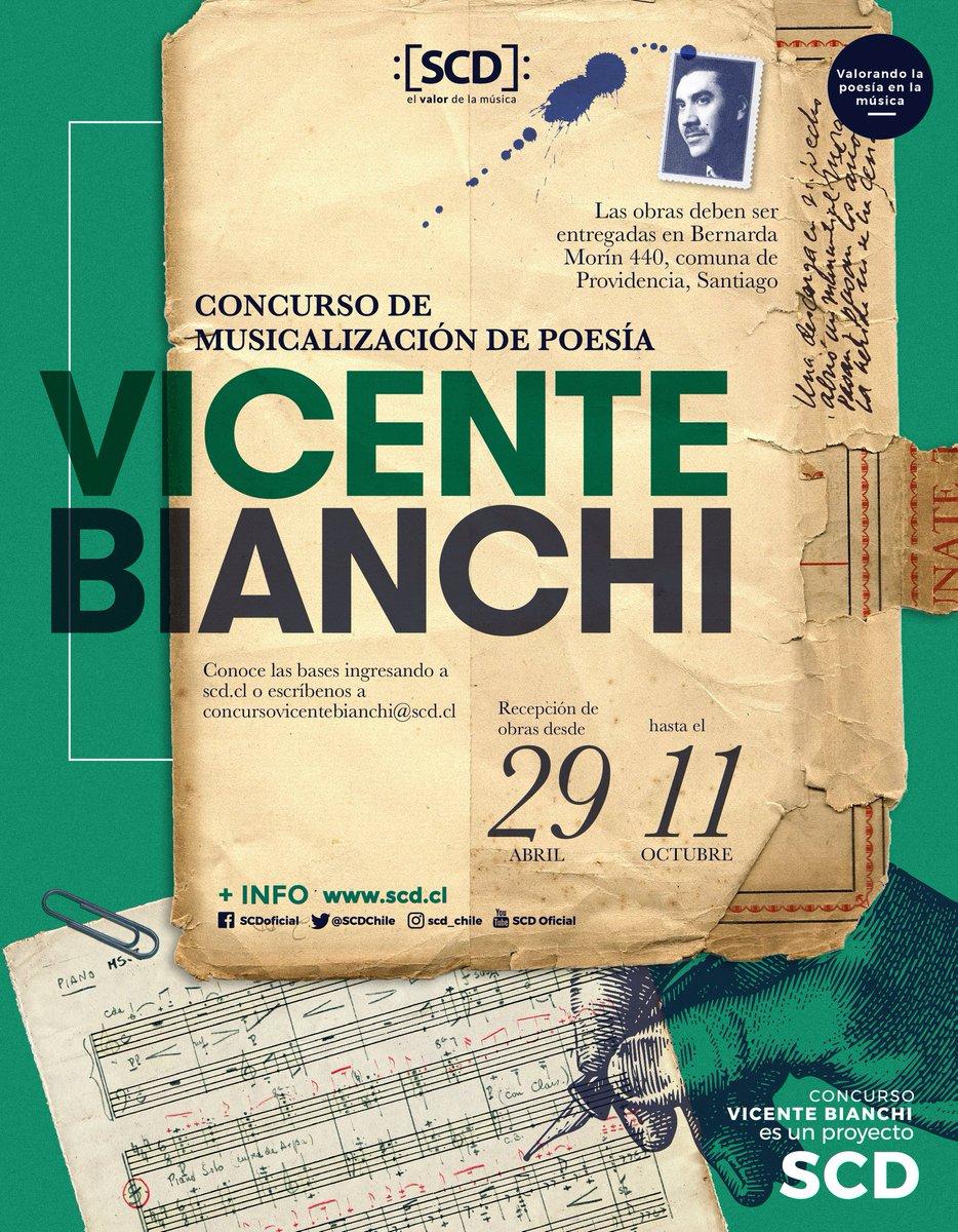 test Twitter Media - ¡La 7° versión del concurso de musicalización de poesía #VicenteBianchi abrió sus postulaciones!   Inspira tu trabajo musical en una poesía chilena y participa en este gran concurso organizado por la @scdchile 👌. https://t.co/FRKlAcUwyJ