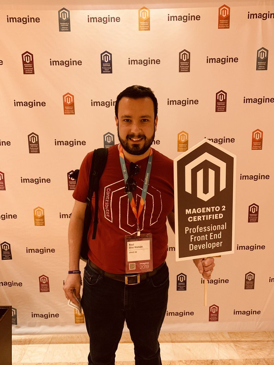 MagentoU: Congratulations to @diazwatson for passing the Professional Front End Certification exam yesterday! #MagentoImagine https://t.co/An5rIBojVT
