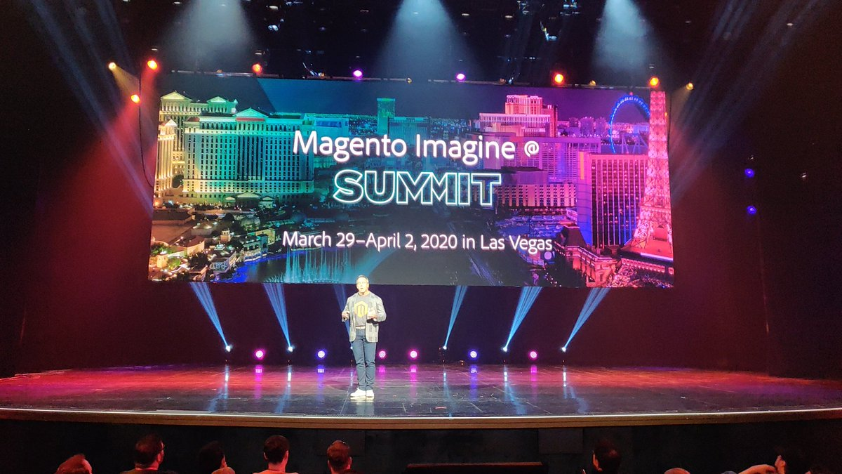 midimarcus: Next #MagentoImagine has been announced as an expansion to Adobe summit: March 29-April 2 2020 in Vegas. https://t.co/gA6PDEQyBk