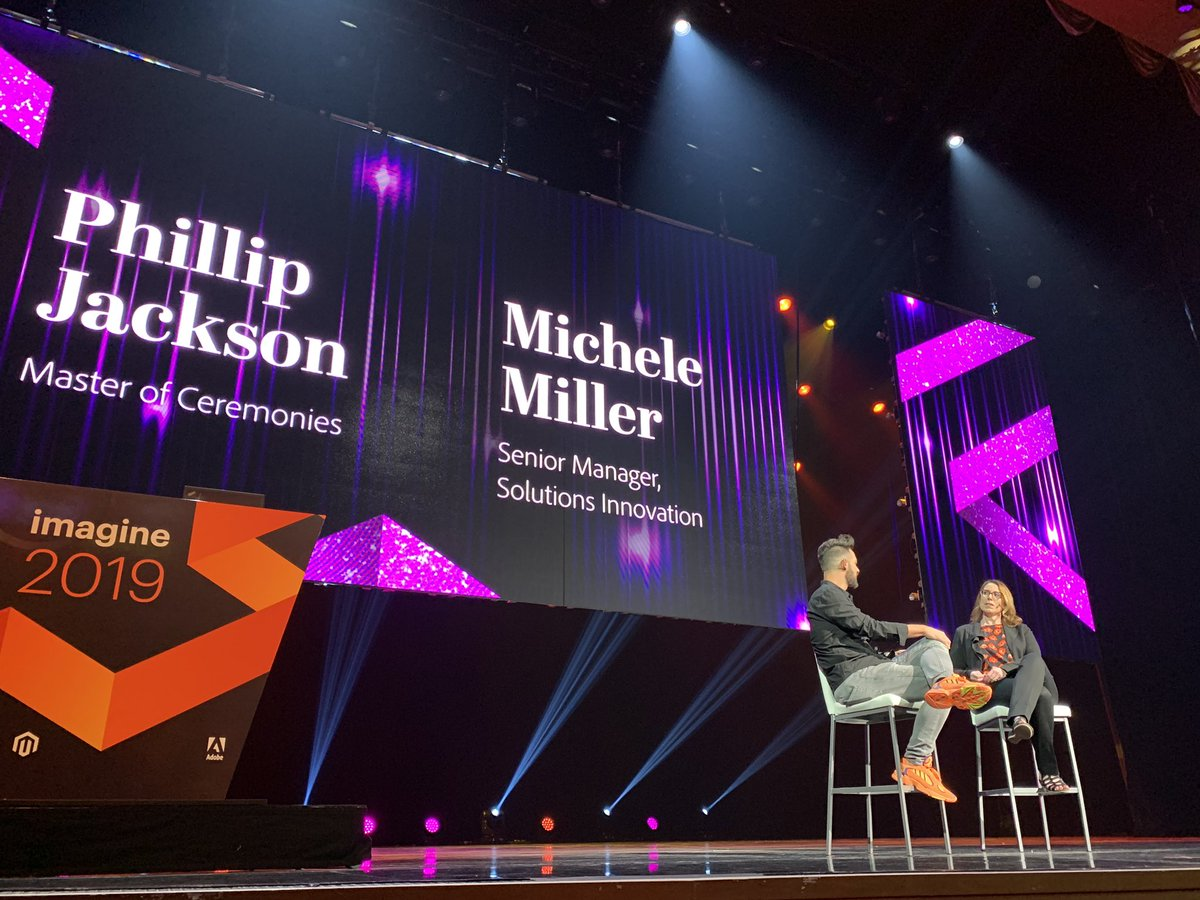 DCKAP: @philwinkle with With Michele Miller. Head of Innovations @magento  #MagentoImagine https://t.co/yahlg65uwa