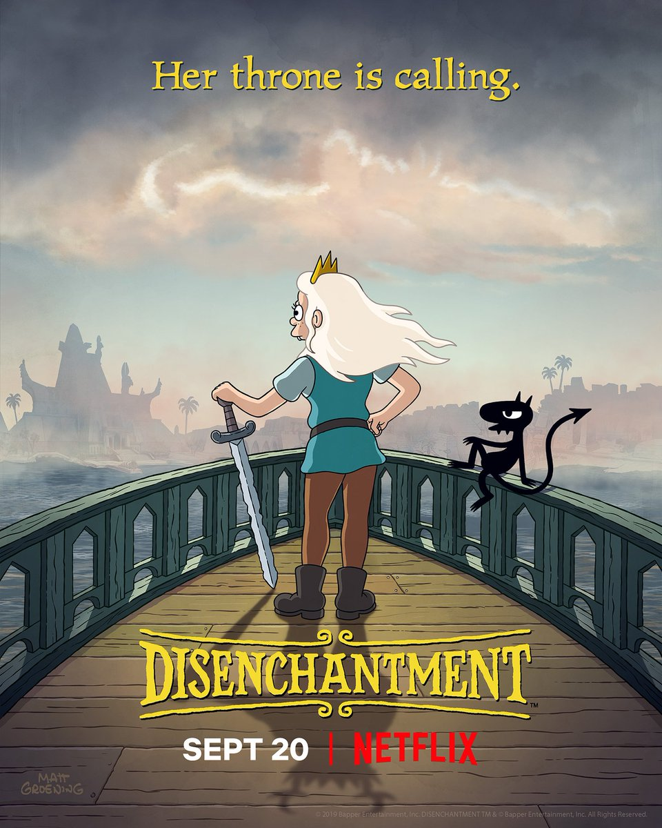 RT @disenchantment: Will she win... or booze? Disenchantment returns September 20. https://t.co/8ZchIk96XP