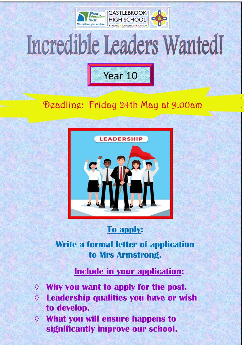 test Twitter Media - Year 10 - Become An Incredible Leader!  Apply by Friday 24th May. https://t.co/bO9yIkwSFj