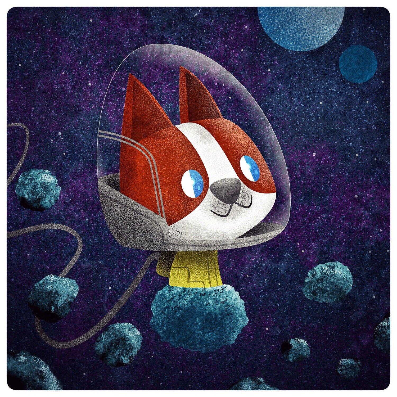 Space Pup Theodore #spacedog #illustration #affinitydesigner #asteroids #illustrators https://t.co/sJ9amNF1S0