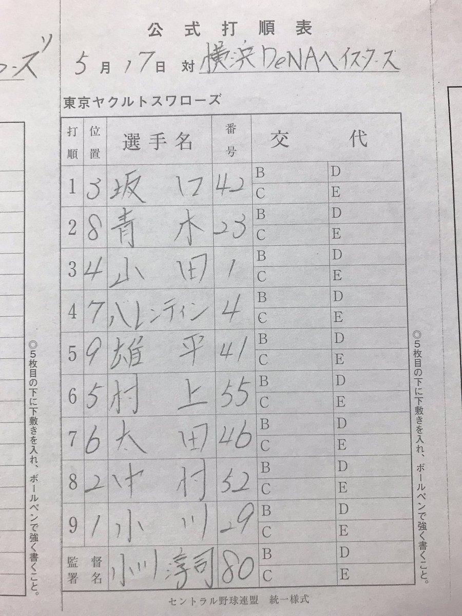 test ツイッターメディア - 【5月17日(金)vs横浜DeNA】 本日のスタメン❗️声出しは帰ってきたバレンティン選手‼️ #swallows #燕陣 https://t.co/nr3Snpnrmj