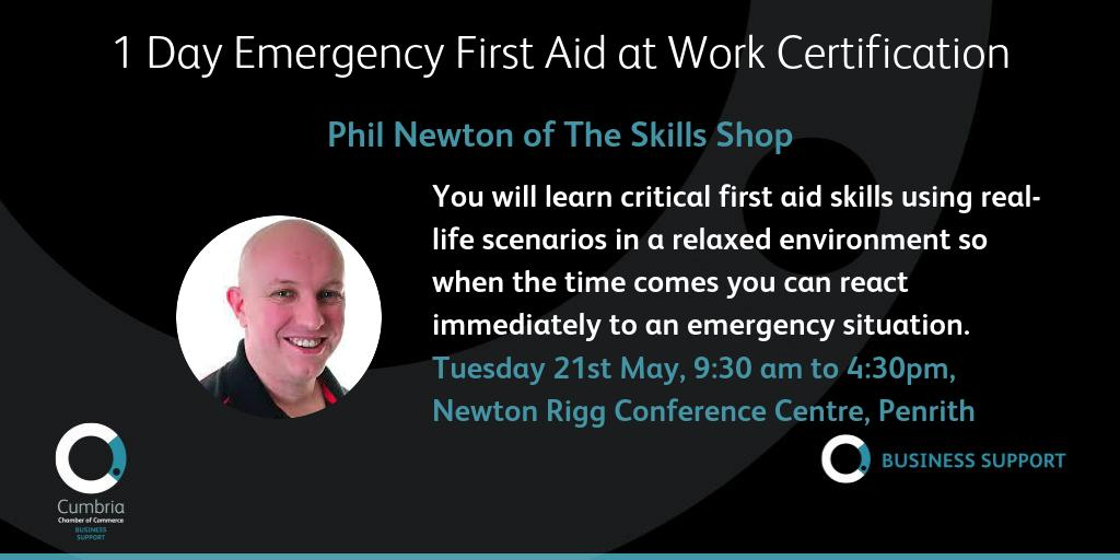 test Twitter Media - 1 Day Emergency First Aid at Work Certification (with added extras) with Skills Shop Newton Rigg, Penrith, Tuesday 21st May, 9:30 am - 4:30 pm - more details and booking info at: https://t.co/uQ4bqcs9R0 @theskillsshop https://t.co/nXJWclB8gv