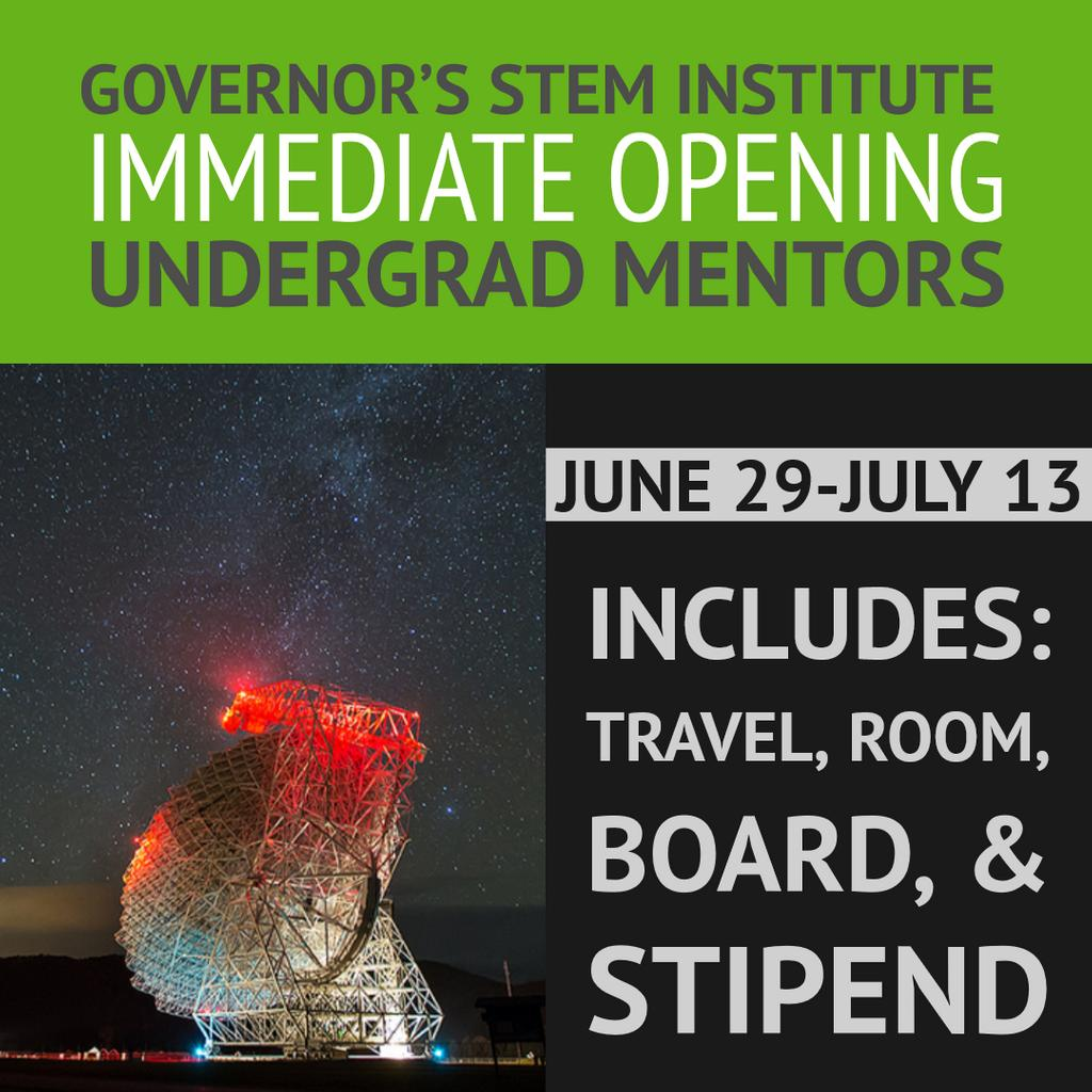 #Undergrad student mentors work alongside GBO staff to teach rising 9th graders, making #STEM accessible & fun. Two-week position, June 29 - July 13, includes travel, room, board & a generous stipend. Questions? Want to apply? Contact sheather@nrao.edu. #summerjob https://t.co/OSpdDcJZcJ