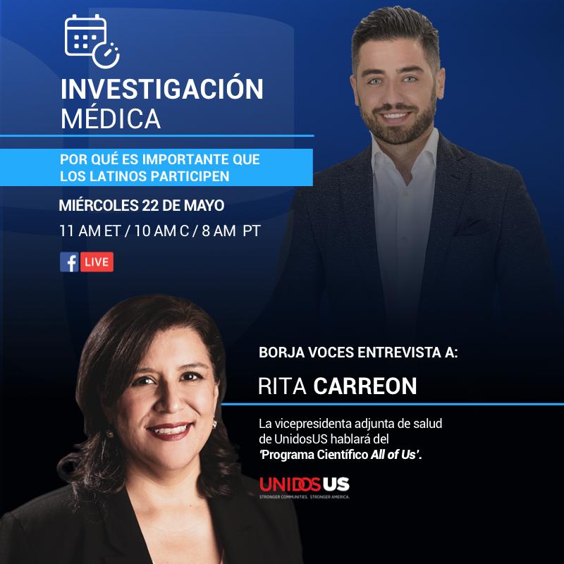 RT @WeAreUnidosUS: ¡No te pierdes el Facebook Live el miércoles Mayo 22! Rita Carreon, vicepresidenta de salud de UnidosUS, acompañara a @borjavoces de #PrimerImpacto para discutir el programa @AllofUsResearch y porque es tan importante que nuestra comunidad participe. #JoinAllOfUs. https://t.co/wiEGlfcgZE