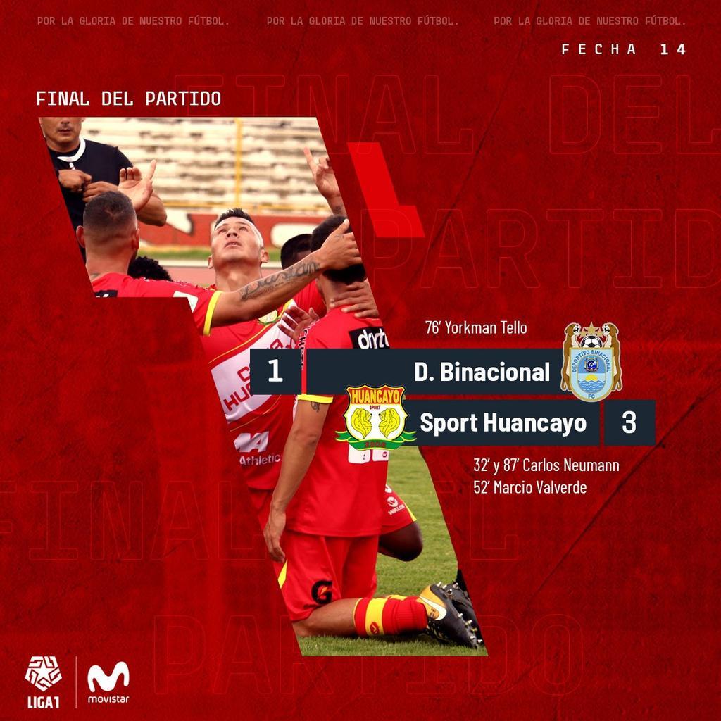 @Liga1Movistar ⚽️🏆🇵🇪 @BinacionalFC 1 - 3 @SPORTHUANCAYO Goles: Tello(BIN) Neumann[2] y Valverde(SH) https://t.co/BvdYaeH3U5