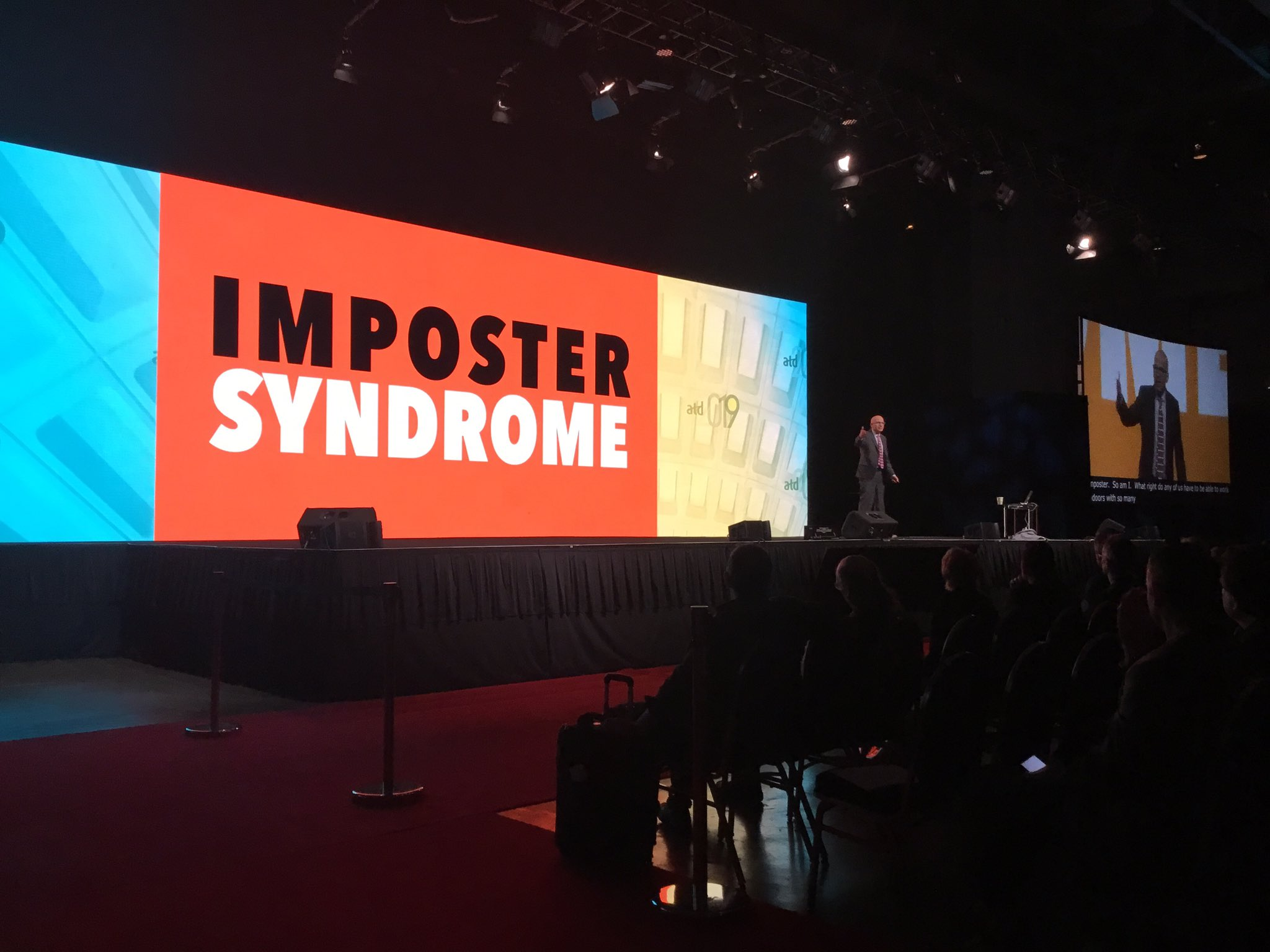 Of course you're an imposter, if you're not an imposter you're a psychopath. -@ThisIsSethsBlog   #ATD2019 https://t.co/IbG0KBeUD8