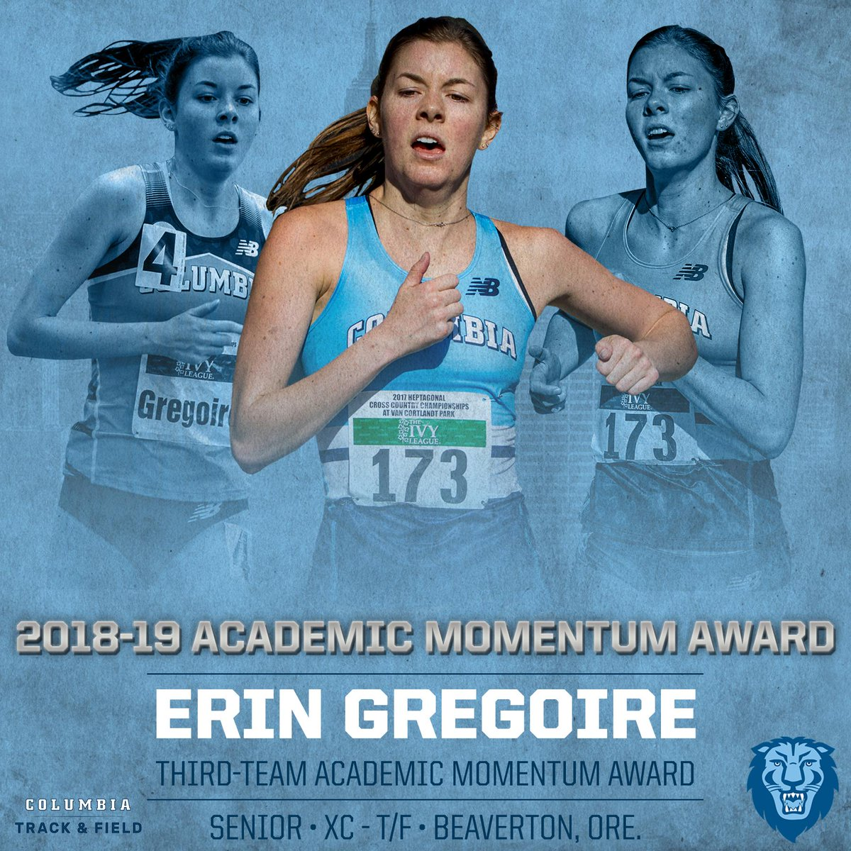 RT @ColumbiaXCTF: Erin Gregoire wins on the track and in the classroom. 👏👏  #RoarLionRoar https://t.co/tESZCRVBZ0