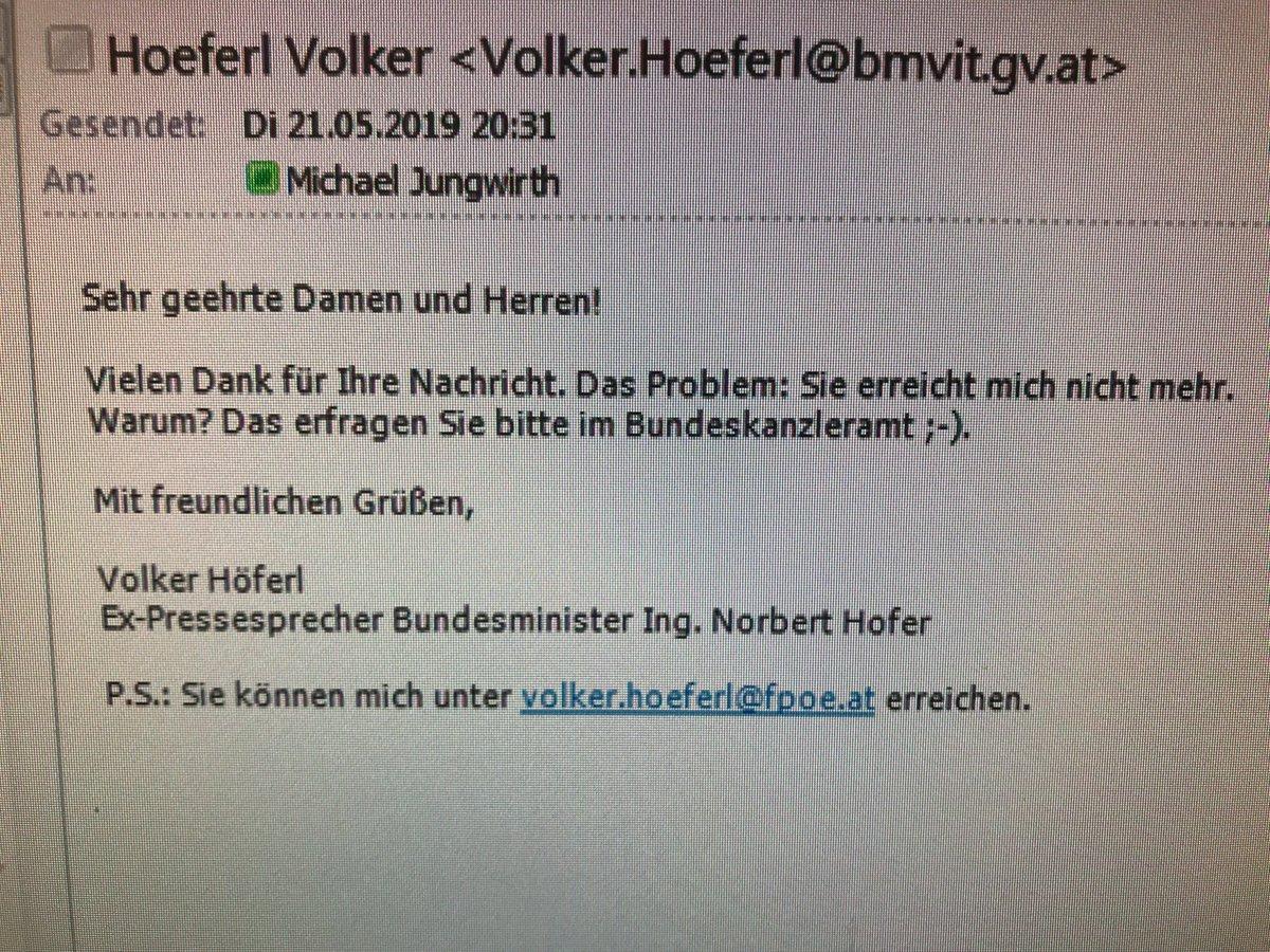 Weltklasse - das automatische Retour-Mail von Volker Höferl, Pressesprecher von Noch-Verkehrsminister Hofer https://t.co/68OHzRlzAi