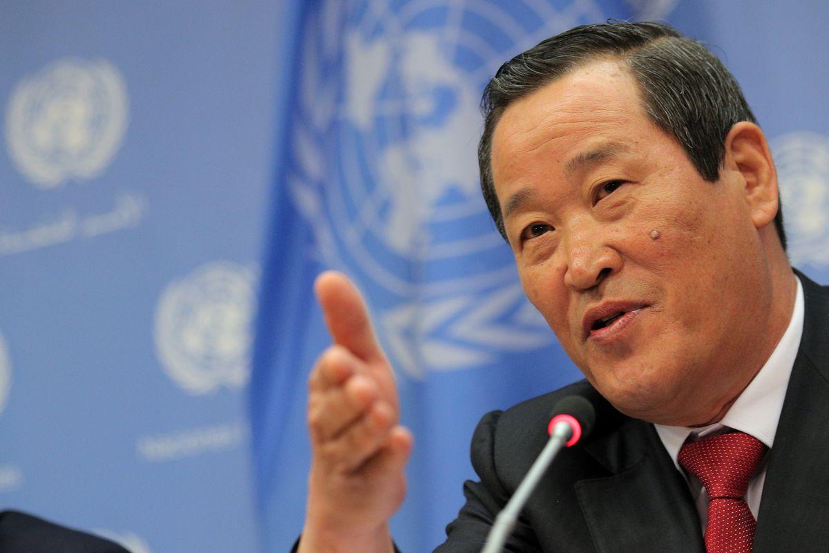 North Korea warns U.S. over seized cargo ship at rare UN news conference