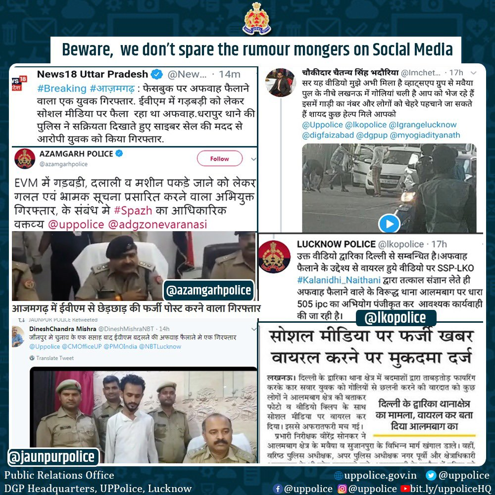 test Twitter Media - We believe in real action against digital fake news!  @lkopolice, @azamgarhpolice & @jaunpurpolice crack the whip against #FakeNews mongers on #SocialMedia by registering FIR against accused and arresting them.   #UPPAgainstFakeNews #DontFakeGetReal  #UPPViralCheck https://t.co/C2M85vCHp0